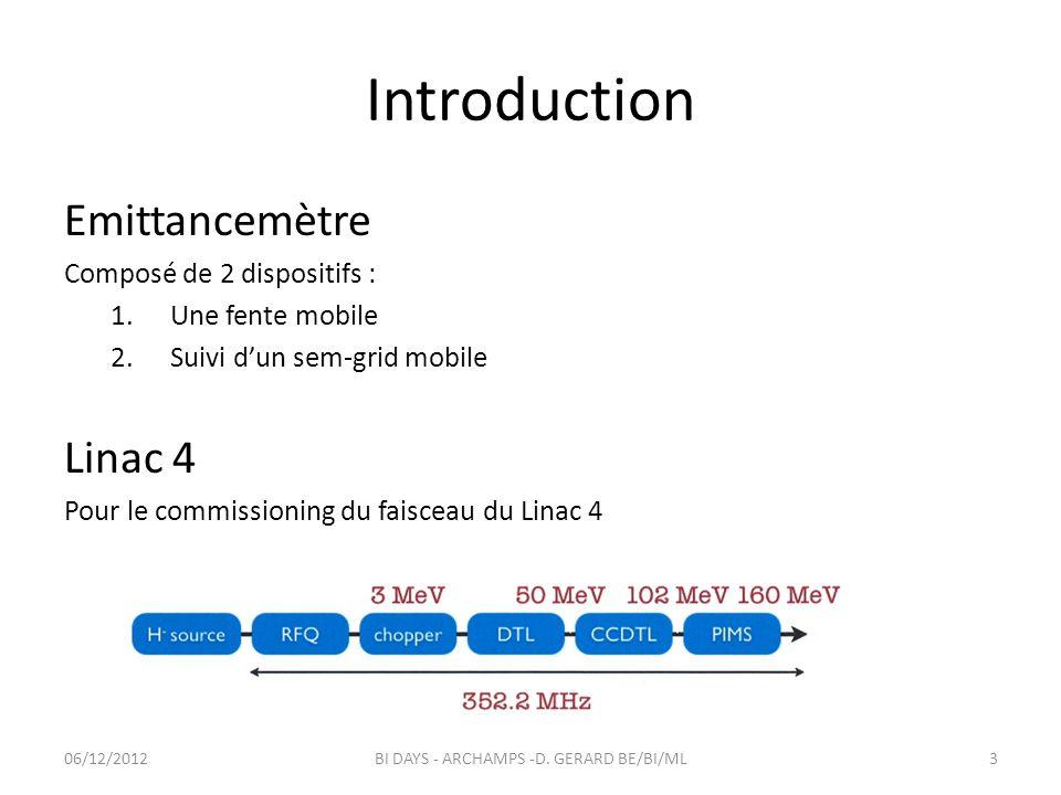 Introduction Emittancemètre Composé de 2 dispositifs : 1.Une fente mobile 2.Suivi dun sem-grid mobile Linac 4 Pour le commissioning du faisceau du Lin