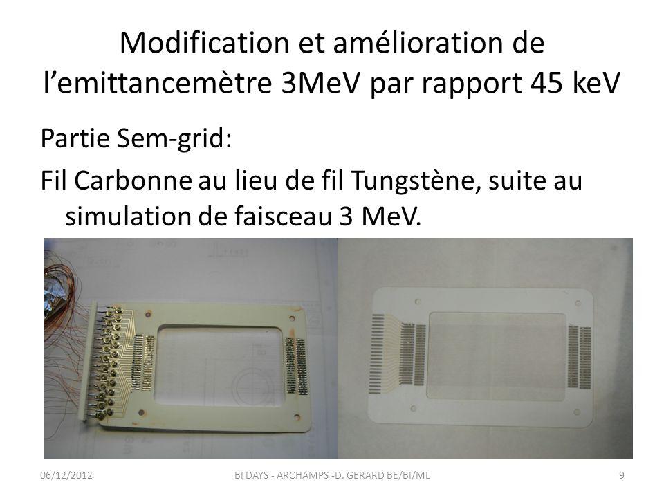 Partie Sem-grid: Fil Carbonne au lieu de fil Tungstène, suite au simulation de faisceau 3 MeV. Modification et amélioration de lemittancemètre 3MeV pa