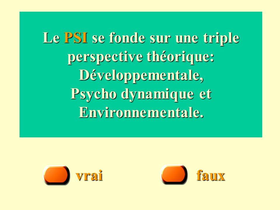 Le PSI se fonde sur une triple perspective théorique: Développementale, Psycho dynamique et Environnementale.