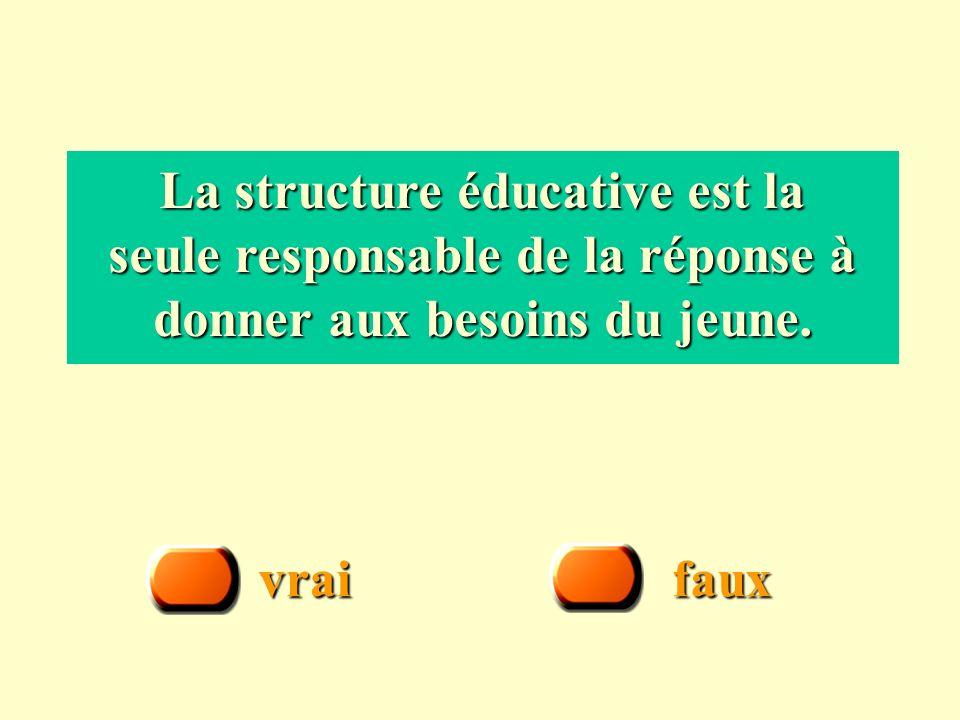 vrai faux La structure éducative est la seule responsable de la réponse à donner aux besoins du jeune.