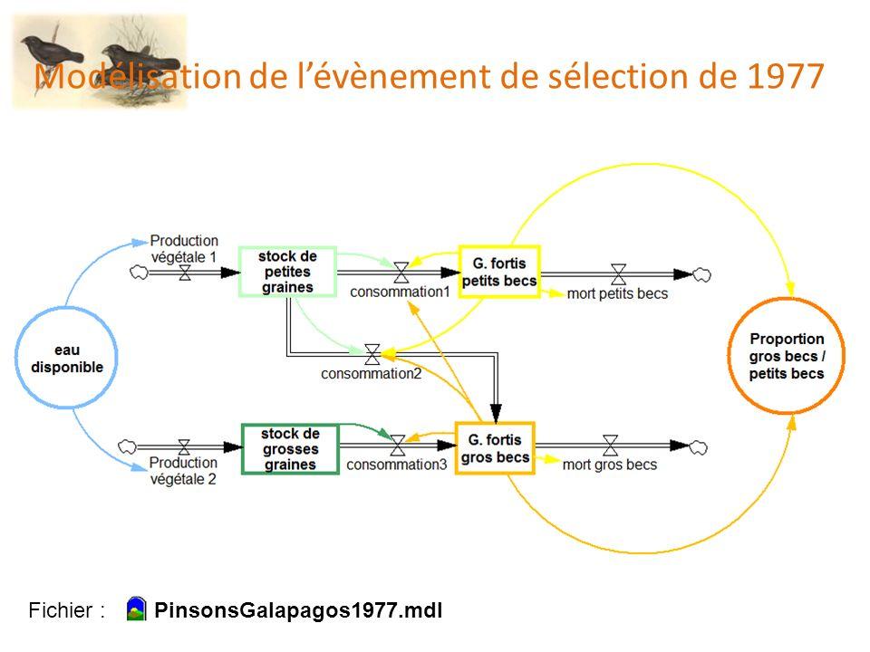 Modélisation de lévènement de sélection de 1977 Fichier : PinsonsGalapagos1977.mdl