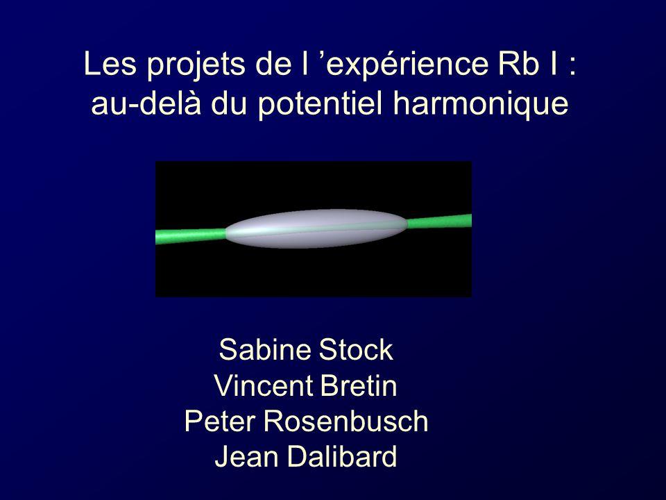 Les projets de l expérience Rb I : au-delà du potentiel harmonique Sabine Stock Vincent Bretin Peter Rosenbusch Jean Dalibard