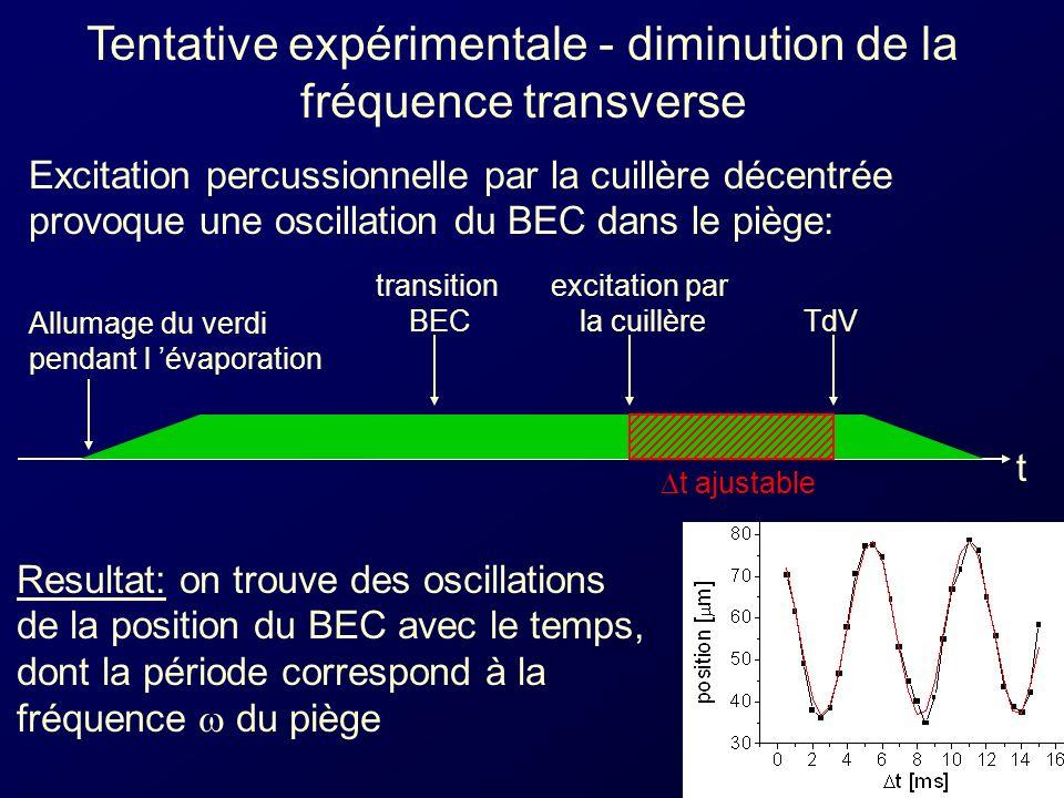 Tentative expérimentale - diminution de la fréquence transverse Excitation percussionnelle par la cuillère décentrée provoque une oscillation du BEC dans le piège: Allumage du verdi pendant l évaporation transition BEC t TdV t ajustable excitation par la cuillère Resultat: on trouve des oscillations de la position du BEC avec le temps, dont la période correspond à la fréquence du piège
