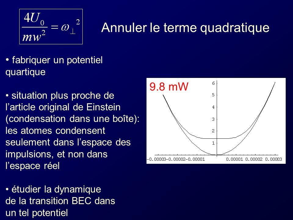 9.8 mW Annuler le terme quadratique fabriquer un potentiel quartique situation plus proche de larticle original de Einstein (condensation dans une boîte): les atomes condensent seulement dans lespace des impulsions, et non dans lespace réel étudier la dynamique de la transition BEC dans un tel potentiel