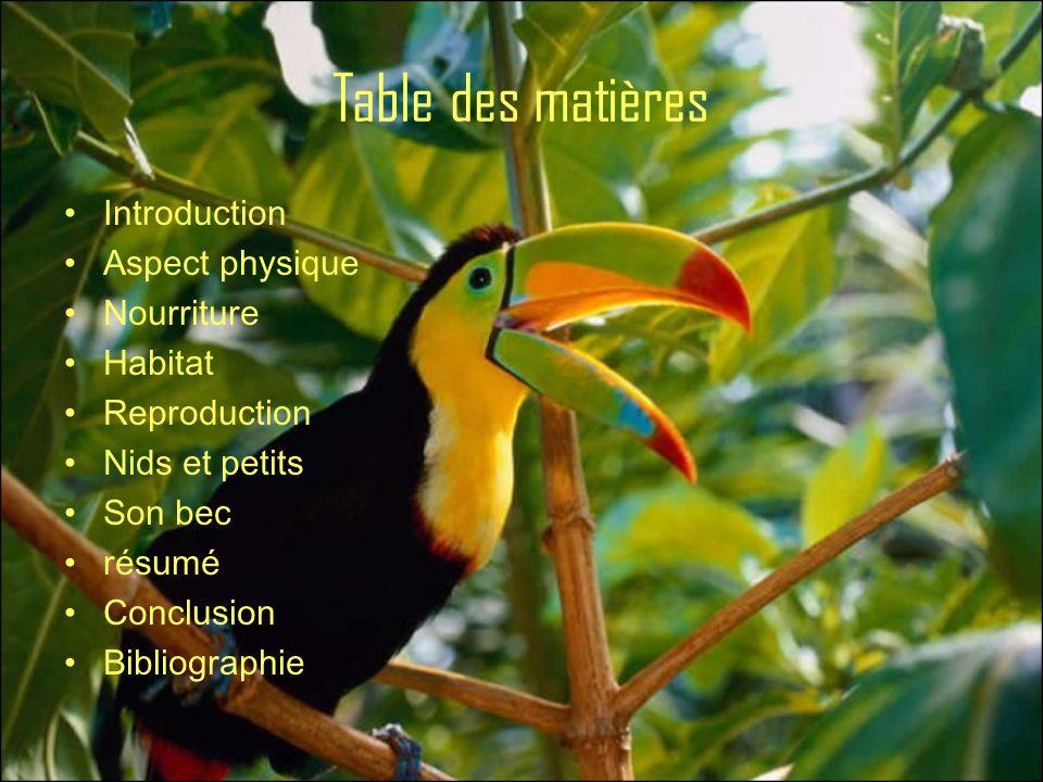 Table des matières Introduction Aspect physique Nourriture Habitat Reproduction Nids et petits Son bec résumé Conclusion Bibliographie