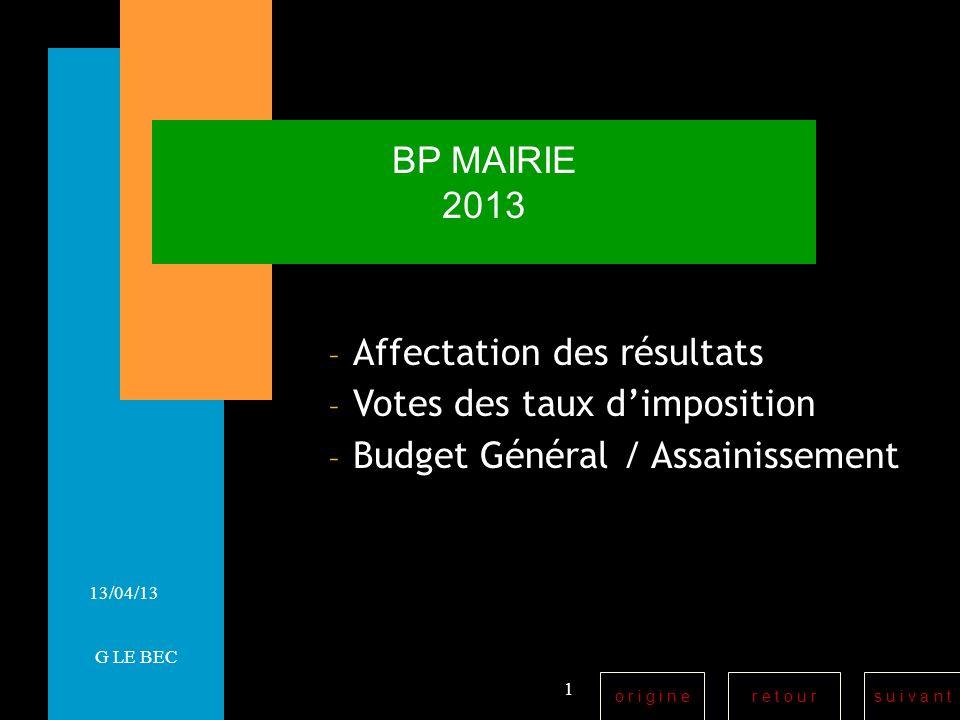 r e t o u rs u i v a n to r i g i n e 13/04/13 BP MAIRIE 2013 – Affectation des résultats – Votes des taux dimposition – Budget Général / Assainissement 1 G LE BEC