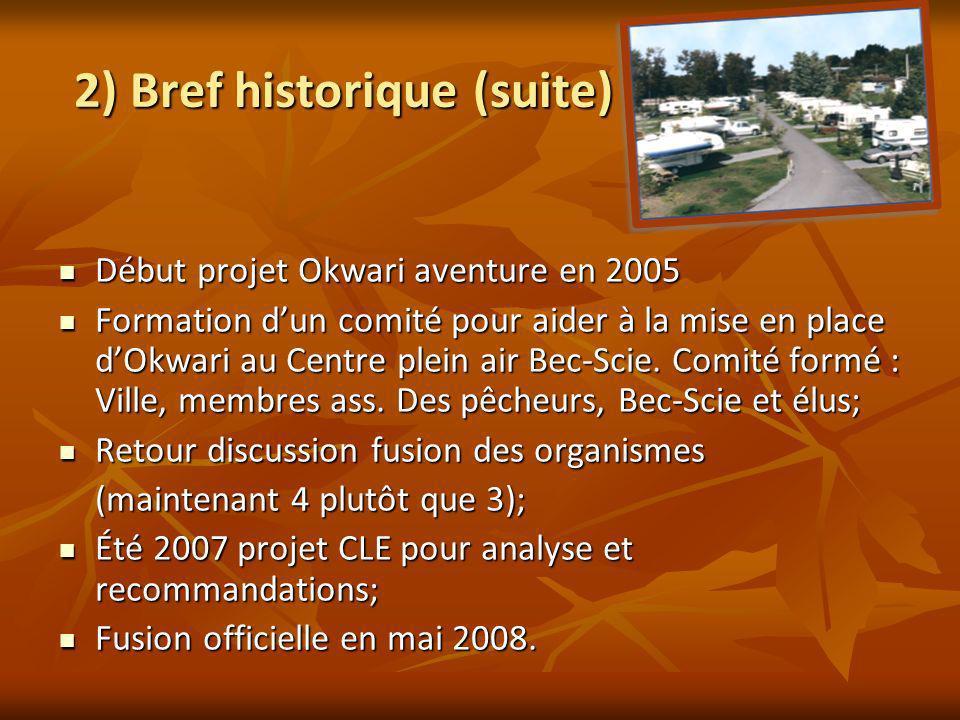 2) Bref historique (suite) Début projet Okwari aventure en 2005 Début projet Okwari aventure en 2005 Formation dun comité pour aider à la mise en place dOkwari au Centre plein air Bec-Scie.