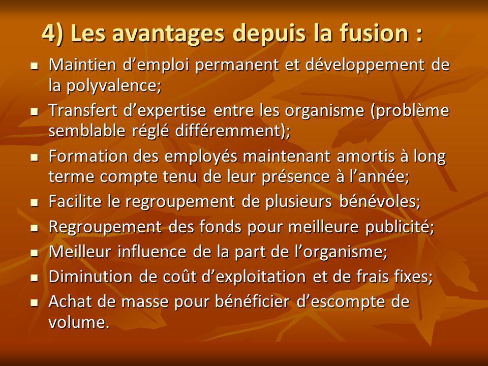 4) Les avantages depuis la fusion : Maintien demploi permanent et développement de la polyvalence; Maintien demploi permanent et développement de la p