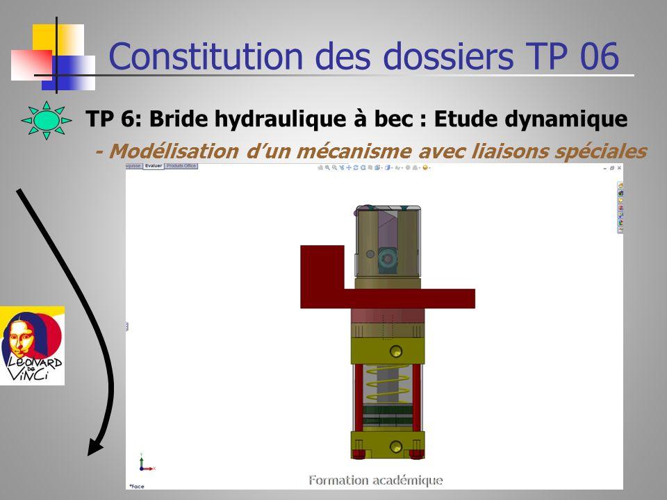 TP 6: Bride hydraulique à bec : Etude dynamique Constitution des dossiers TP 06 - Modélisation dun mécanisme avec liaisons spéciales