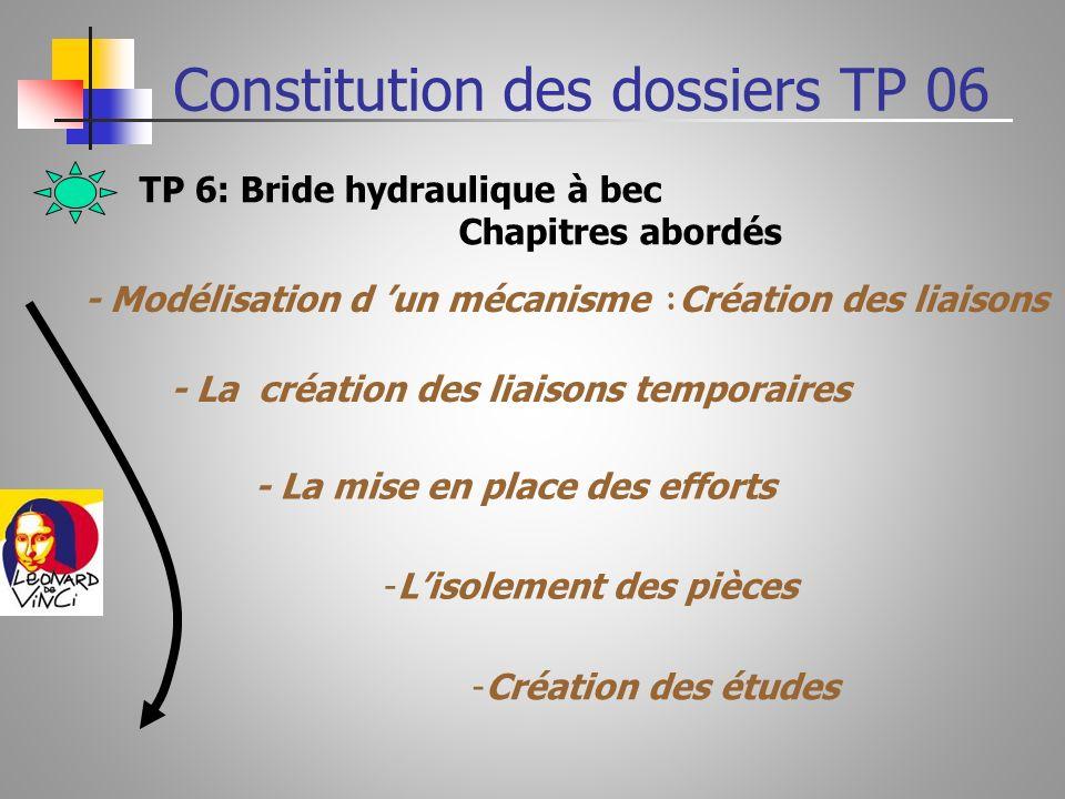 TP 6: Bride hydraulique à bec Chapitres abordés - Modélisation d un mécanisme : Création des liaisons - La création des liaisons temporaires - La mise en place des efforts -Lisolement des pièces -Création des études Constitution des dossiers TP 06