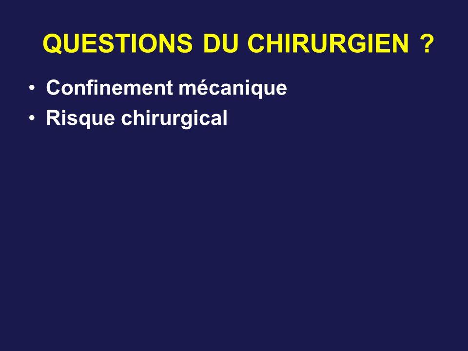 QUESTIONS DU CHIRURGIEN ? Confinement mécanique Risque chirurgical