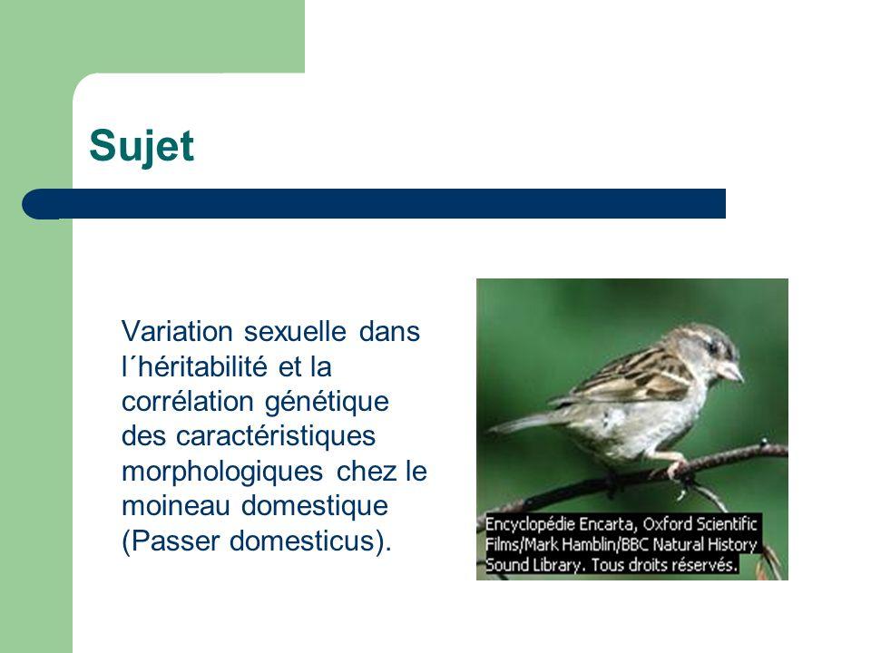 Sujet Variation sexuelle dans l´héritabilité et la corrélation génétique des caractéristiques morphologiques chez le moineau domestique (Passer domesticus).