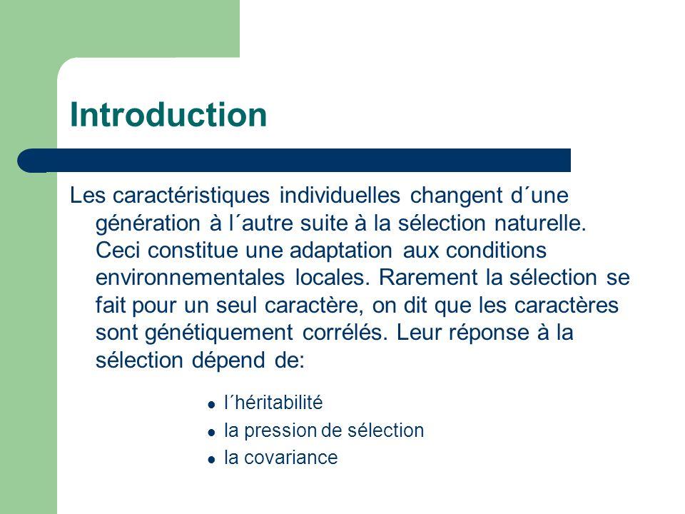 Introduction Les caractéristiques individuelles changent d´une génération à l´autre suite à la sélection naturelle.