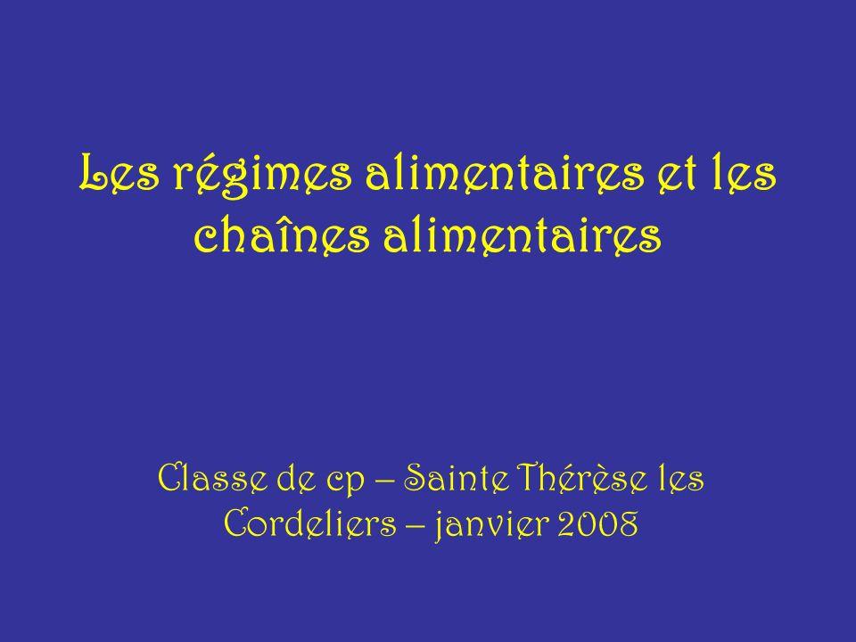 Les régimes alimentaires et les chaînes alimentaires Classe de cp – Sainte Thérèse les Cordeliers – janvier 2008