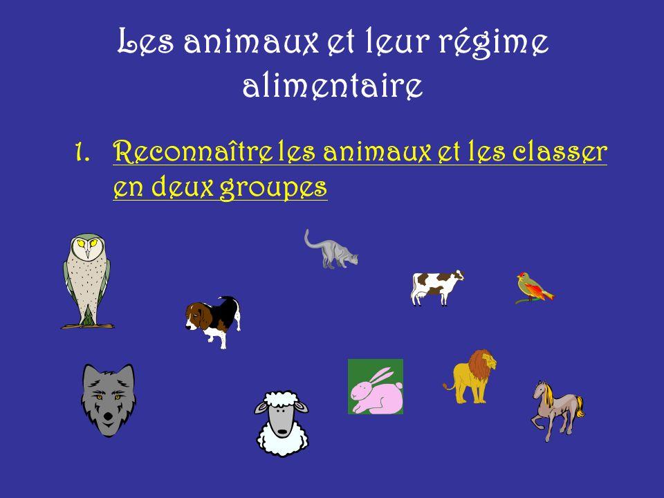 Les animaux et leur régime alimentaire 1.Reconnaître les animaux et les classer en deux groupes