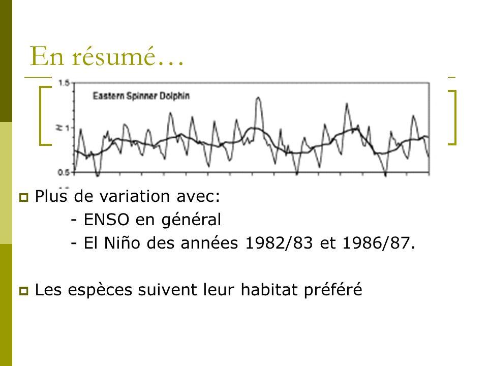 En résumé… Variation saisonnière Variation interannuelle > Plus de variation avec: - ENSO en général - El Niño des années 1982/83 et 1986/87. Les espè