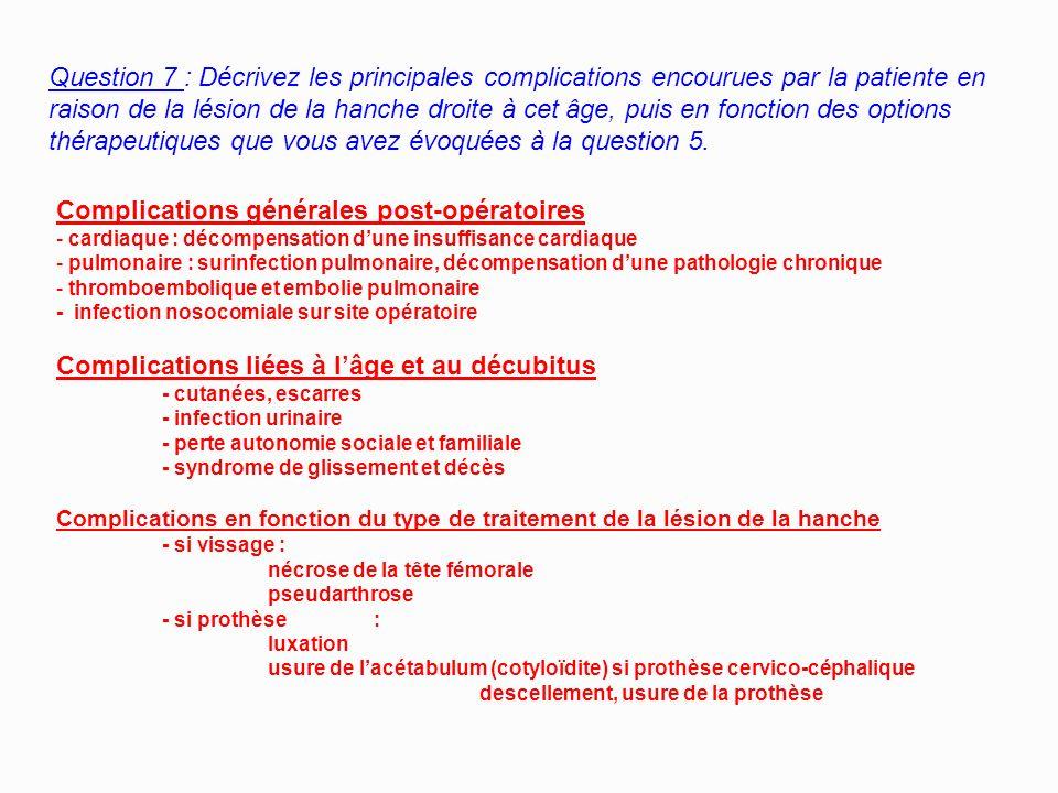 Question 6 : Que demandez-vous comme examens complémentaires et pourquoi ? Radiographies du Bassin de face (2 hanches) et de la Hanche Droite de Profi