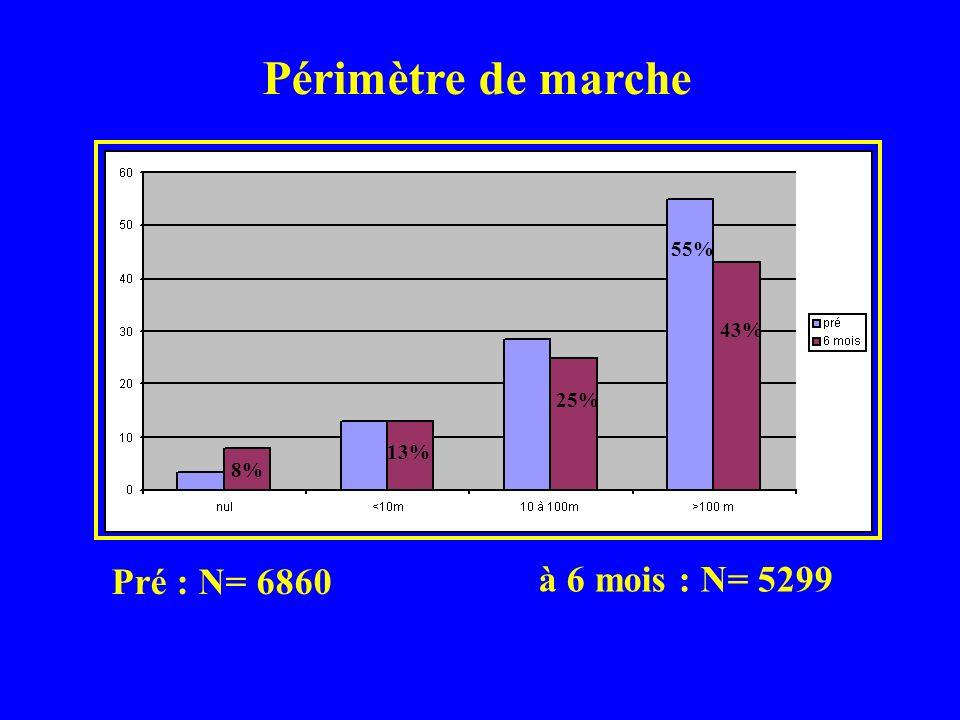 Cadre de vie + de 1006 décès dans les 6 mois (14,7%) Pré: N= 6860 à 6 mois: N= 5332 53% 17,5% 19,5% 10% 68% 18% 14%