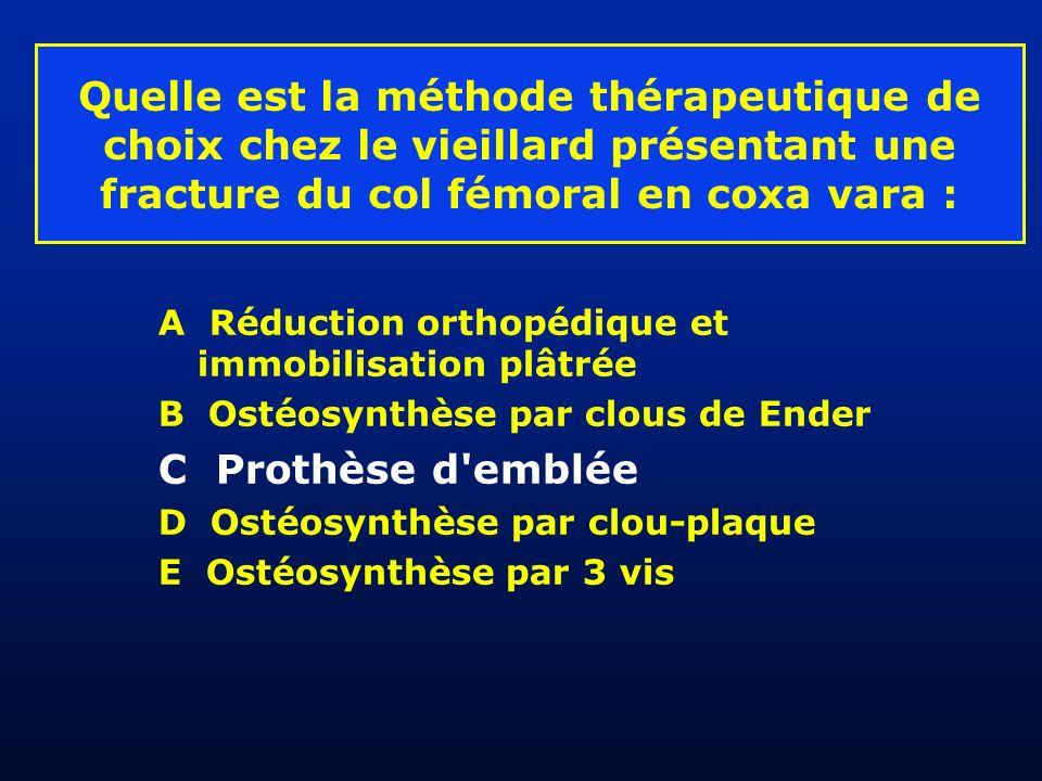 Quelle est la méthode thérapeutique de choix chez le vieillard présentant une fracture du col fémoral en coxa vara : A Réduction orthopédique et immob