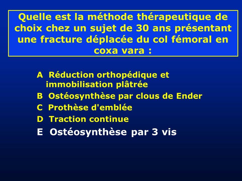 Quelle est la méthode thérapeutique de choix chez un sujet de 30 ans présentant une fracture déplacée du col fémoral en coxa vara : A Réduction orthop