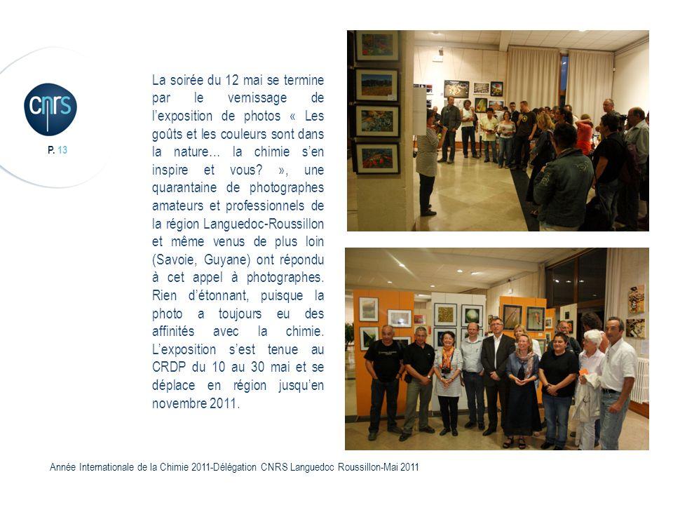 P. 13 Année Internationale de la Chimie 2011-Délégation CNRS Languedoc Roussillon-Mai 2011 La soirée du 12 mai se termine par le vernissage de lexposi