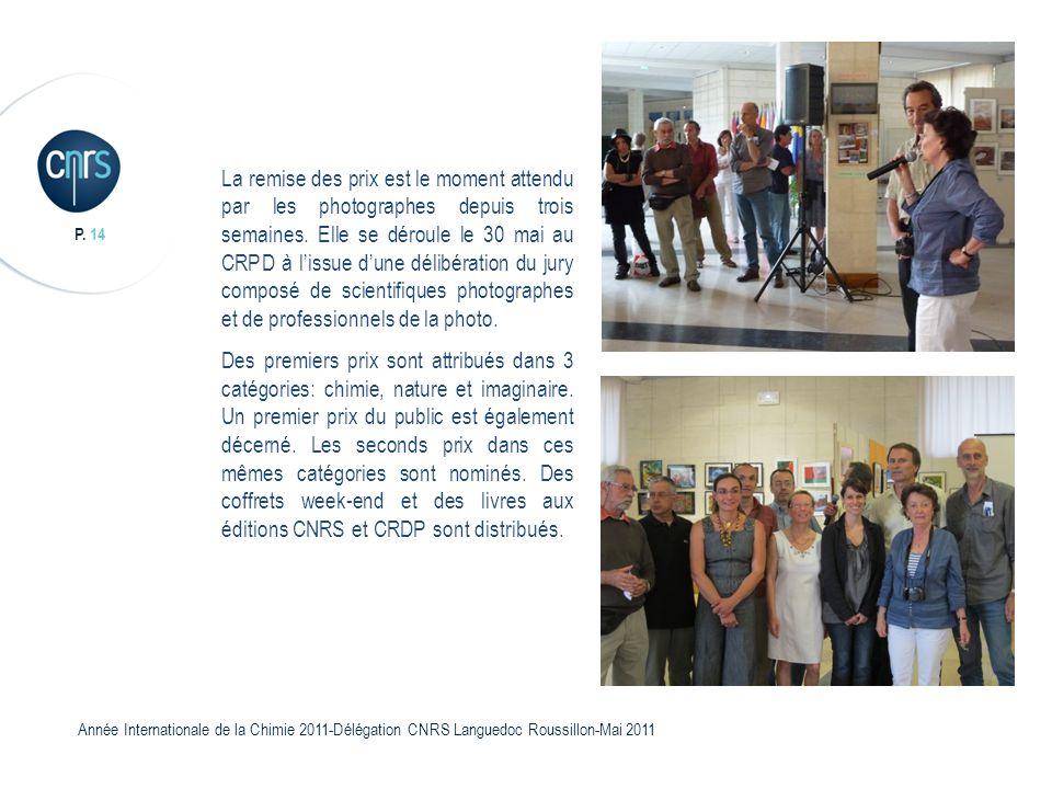 P. 14 Année Internationale de la Chimie 2011-Délégation CNRS Languedoc Roussillon-Mai 2011 La remise des prix est le moment attendu par les photograph