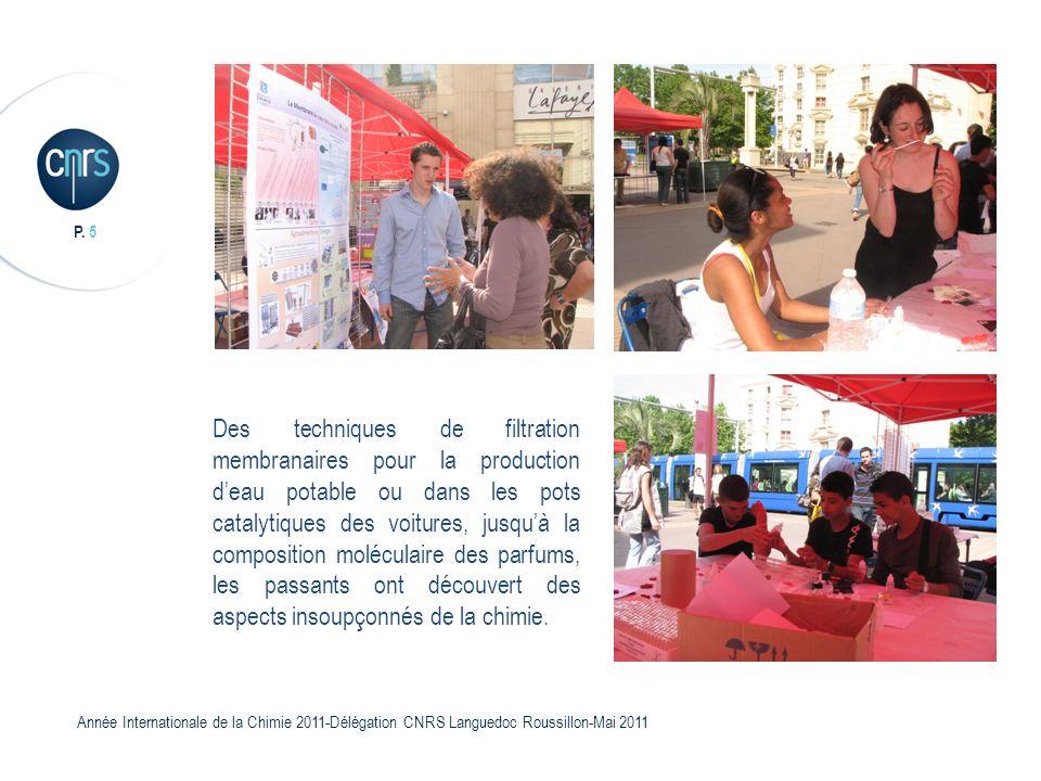 P. 5 Année Internationale de la Chimie 2011-Délégation CNRS Languedoc Roussillon-Mai 2011 Des techniques de filtration membranaires pour la production