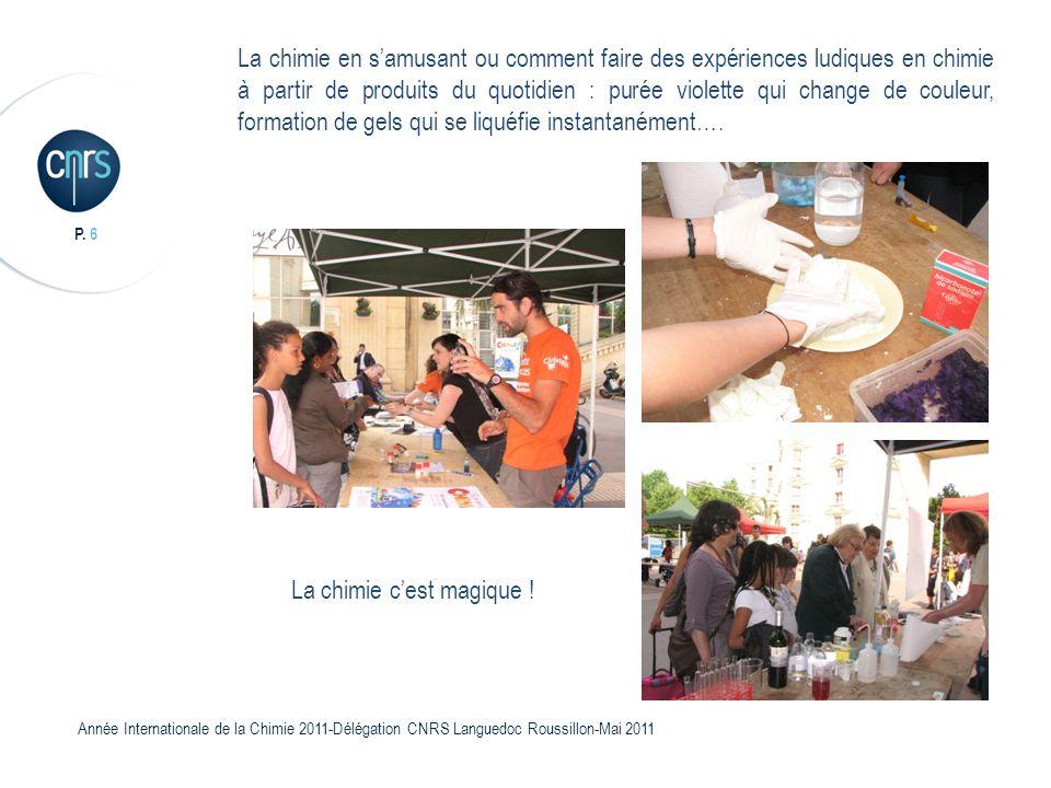 P. 6 Année Internationale de la Chimie 2011-Délégation CNRS Languedoc Roussillon-Mai 2011 La chimie en samusant ou comment faire des expériences ludiq