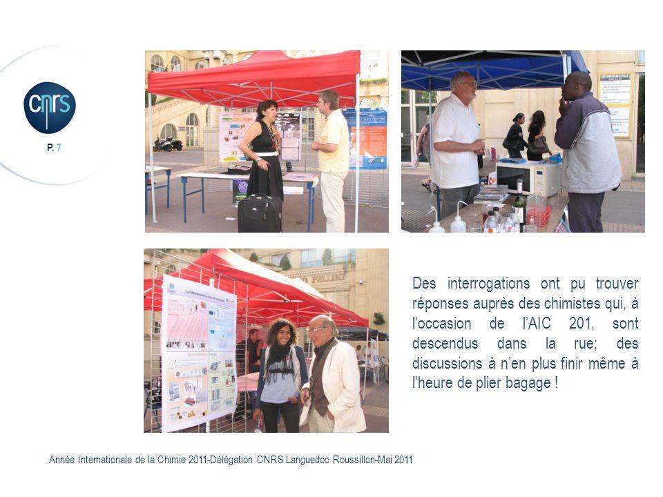 P. 7 Année Internationale de la Chimie 2011-Délégation CNRS Languedoc Roussillon-Mai 2011 Des interrogations ont pu trouver réponses auprès des chimis