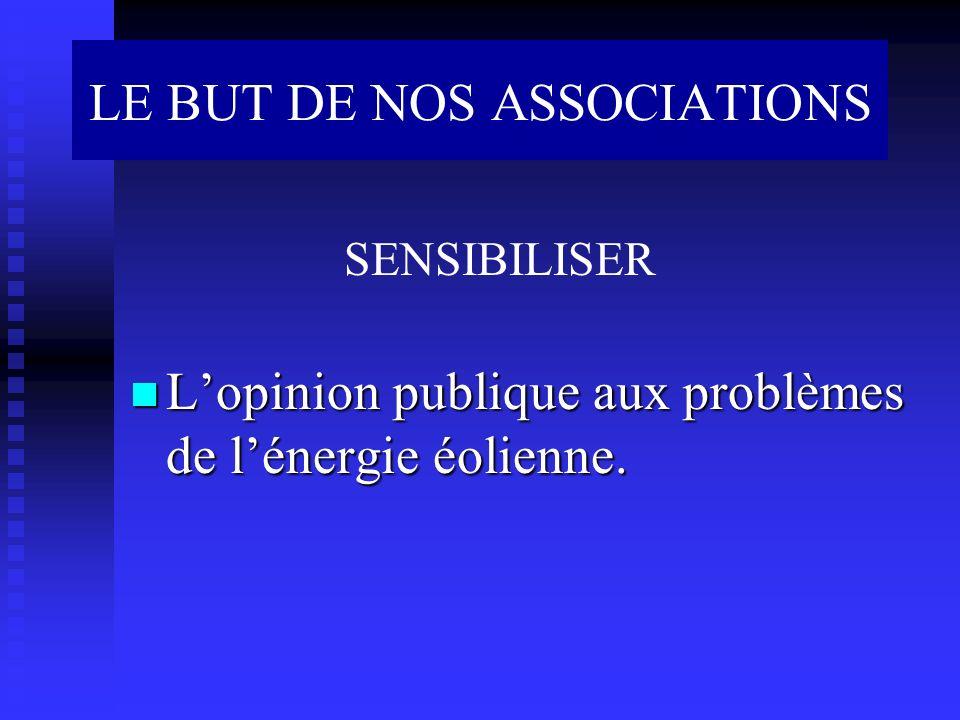 Lopinion publique aux problèmes de lénergie éolienne. Lopinion publique aux problèmes de lénergie éolienne. SENSIBILISER LE BUT DE NOS ASSOCIATIONS