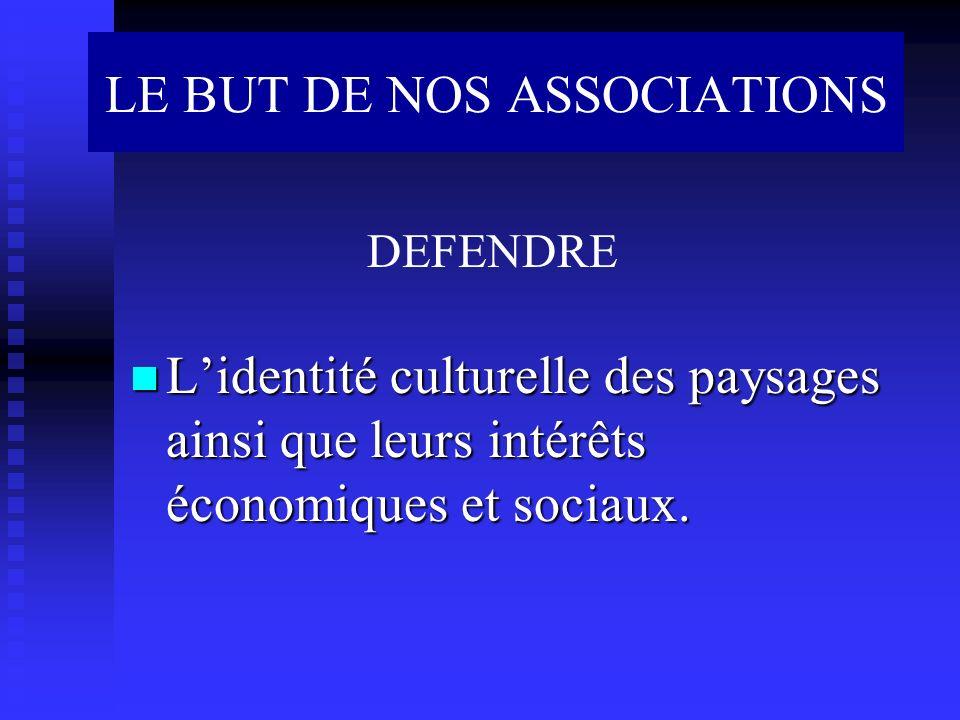 Lidentité culturelle des paysages ainsi que leurs intérêts économiques et sociaux. Lidentité culturelle des paysages ainsi que leurs intérêts économiq