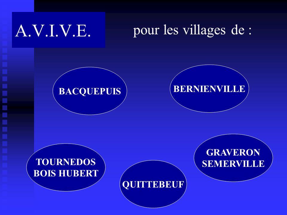 A.V.I.V.E. pour les villages de : BACQUEPUIS BERNIENVILLE GRAVERON SEMERVILLE QUITTEBEUF TOURNEDOS BOIS HUBERT