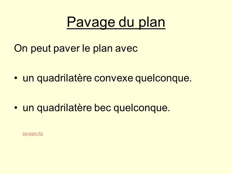 Pavage du plan On peut paver le plan avec un quadrilatère convexe quelconque. un quadrilatère bec quelconque. pavages.fig