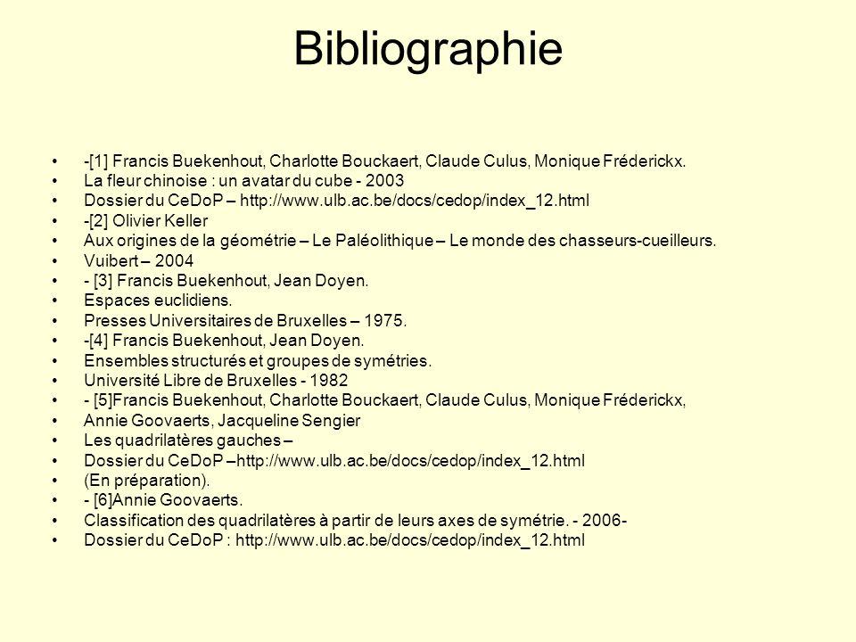 Bibliographie -[1] Francis Buekenhout, Charlotte Bouckaert, Claude Culus, Monique Fréderickx. La fleur chinoise : un avatar du cube - 2003 Dossier du