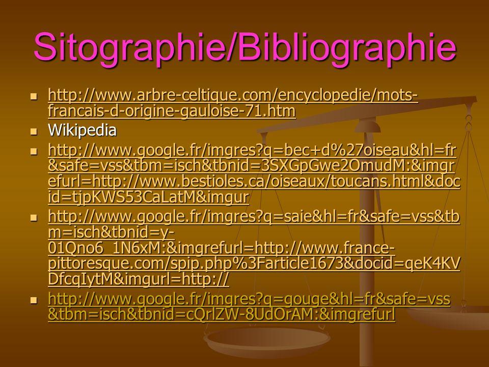 Sitographie/Bibliographie http://www.arbre-celtique.com/encyclopedie/mots- francais-d-origine-gauloise-71.htm http://www.arbre-celtique.com/encyclopedie/mots- francais-d-origine-gauloise-71.htm http://www.arbre-celtique.com/encyclopedie/mots- francais-d-origine-gauloise-71.htm http://www.arbre-celtique.com/encyclopedie/mots- francais-d-origine-gauloise-71.htm Wikipedia Wikipedia http://www.google.fr/imgres q=bec+d%27oiseau&hl=fr &safe=vss&tbm=isch&tbnid=3SXGpGwe2OmudM:&imgr efurl=http://www.bestioles.ca/oiseaux/toucans.html&doc id=tjpKWS53CaLatM&imgur http://www.google.fr/imgres q=bec+d%27oiseau&hl=fr &safe=vss&tbm=isch&tbnid=3SXGpGwe2OmudM:&imgr efurl=http://www.bestioles.ca/oiseaux/toucans.html&doc id=tjpKWS53CaLatM&imgur http://www.google.fr/imgres q=bec+d%27oiseau&hl=fr &safe=vss&tbm=isch&tbnid=3SXGpGwe2OmudM:&imgr efurl=http://www.bestioles.ca/oiseaux/toucans.html&doc id=tjpKWS53CaLatM&imgur http://www.google.fr/imgres q=bec+d%27oiseau&hl=fr &safe=vss&tbm=isch&tbnid=3SXGpGwe2OmudM:&imgr efurl=http://www.bestioles.ca/oiseaux/toucans.html&doc id=tjpKWS53CaLatM&imgur http://www.google.fr/imgres q=saie&hl=fr&safe=vss&tb m=isch&tbnid=y- 01Qno6_1N6xM:&imgrefurl=http://www.france- pittoresque.com/spip.php%3Farticle1673&docid=qeK4KV DfcqIytM&imgurl=http:// http://www.google.fr/imgres q=saie&hl=fr&safe=vss&tb m=isch&tbnid=y- 01Qno6_1N6xM:&imgrefurl=http://www.france- pittoresque.com/spip.php%3Farticle1673&docid=qeK4KV DfcqIytM&imgurl=http:// http://www.google.fr/imgres q=saie&hl=fr&safe=vss&tb m=isch&tbnid=y- 01Qno6_1N6xM:&imgrefurl=http://www.france- pittoresque.com/spip.php%3Farticle1673&docid=qeK4KV DfcqIytM&imgurl=http:// http://www.google.fr/imgres q=saie&hl=fr&safe=vss&tb m=isch&tbnid=y- 01Qno6_1N6xM:&imgrefurl=http://www.france- pittoresque.com/spip.php%3Farticle1673&docid=qeK4KV DfcqIytM&imgurl=http:// http://www.google.fr/imgres q=gouge&hl=fr&safe=vss &tbm=isch&tbnid=cQrlZW-8UdOrAM:&imgrefurl http://www.google.fr/imgres q=gouge&hl=fr&safe=vss &tbm=isch&tbnid=cQ