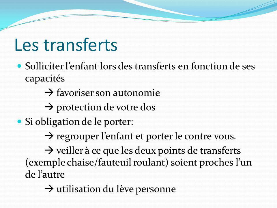 Les transferts Solliciter lenfant lors des transferts en fonction de ses capacités favoriser son autonomie protection de votre dos Si obligation de le