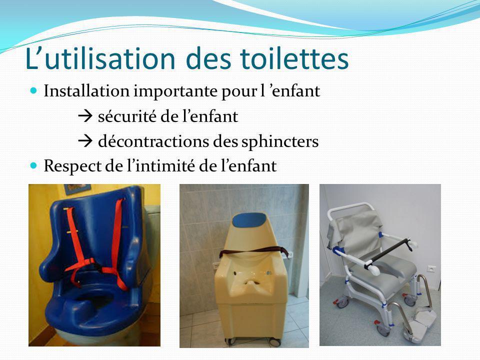 Lutilisation des toilettes Installation importante pour l enfant sécurité de lenfant décontractions des sphincters Respect de lintimité de lenfant