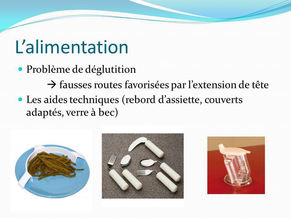 Lalimentation Problème de déglutition fausses routes favorisées par lextension de tête Les aides techniques (rebord dassiette, couverts adaptés, verre