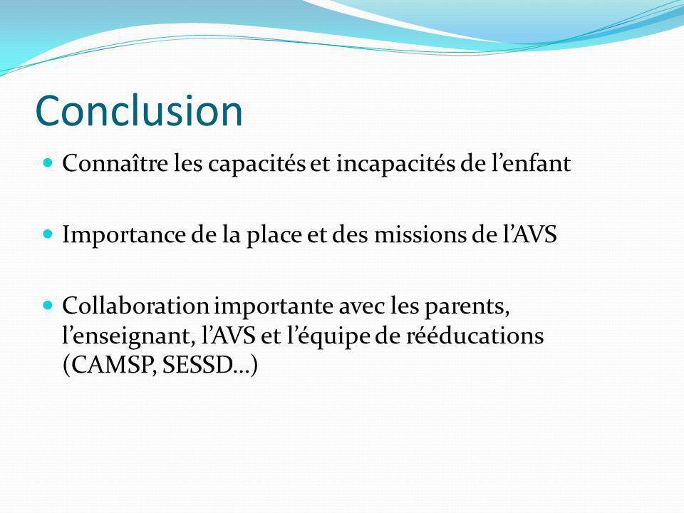 Conclusion Connaître les capacités et incapacités de lenfant Importance de la place et des missions de lAVS Collaboration importante avec les parents,