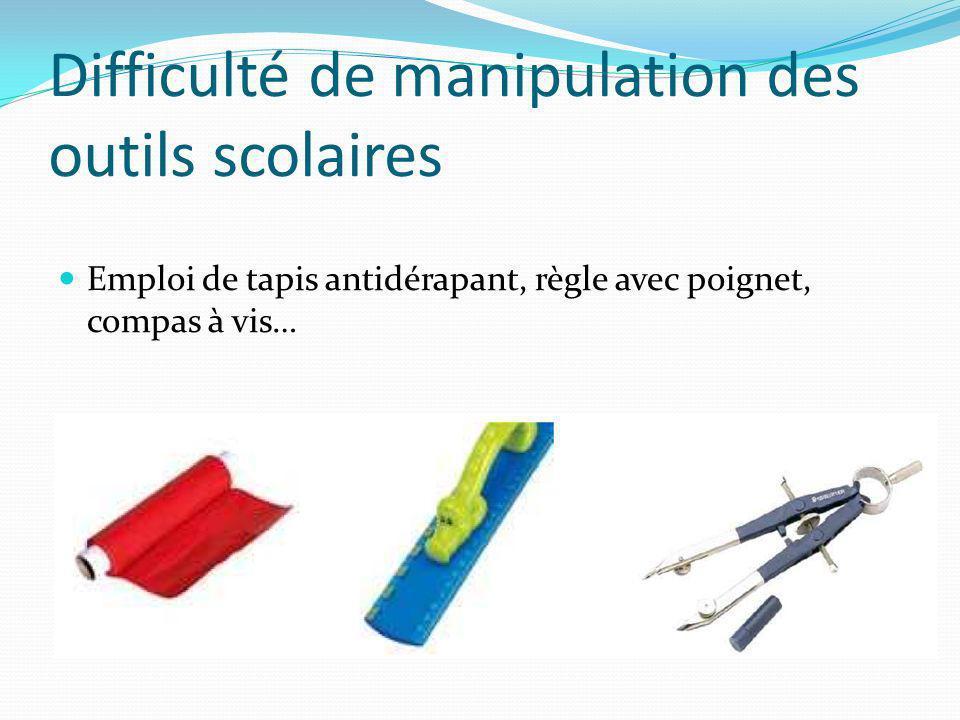 Difficulté de manipulation des outils scolaires Emploi de tapis antidérapant, règle avec poignet, compas à vis…