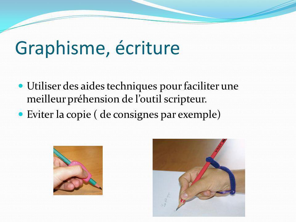 Graphisme, écriture Utiliser des aides techniques pour faciliter une meilleur préhension de loutil scripteur. Eviter la copie ( de consignes par exemp