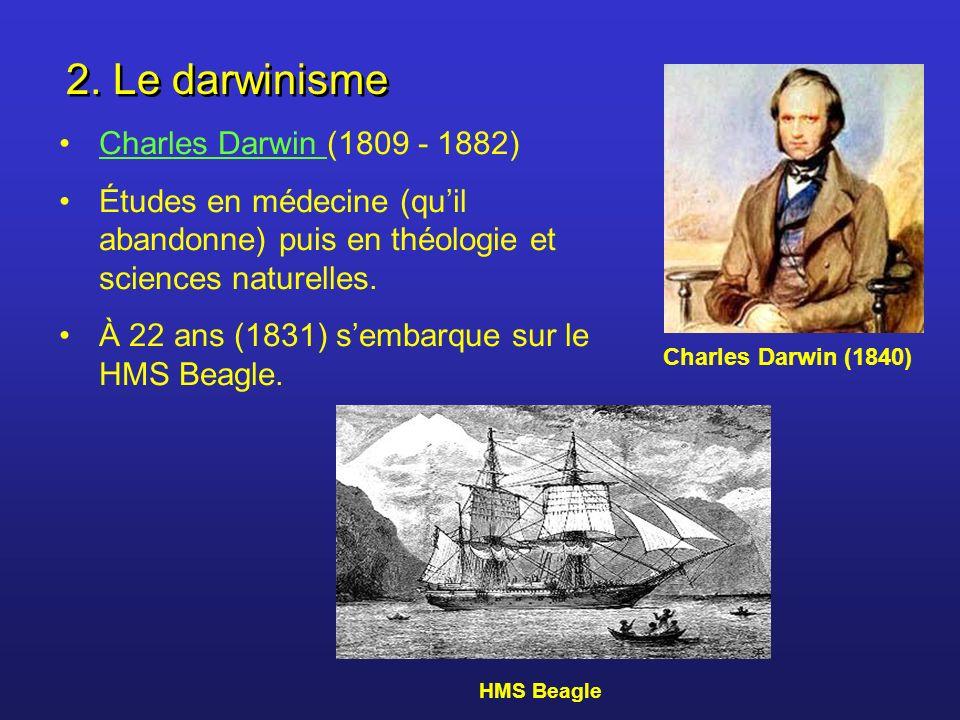 2. Le darwinisme Charles Darwin (1809 - 1882)Charles Darwin Études en médecine (quil abandonne) puis en théologie et sciences naturelles. À 22 ans (18