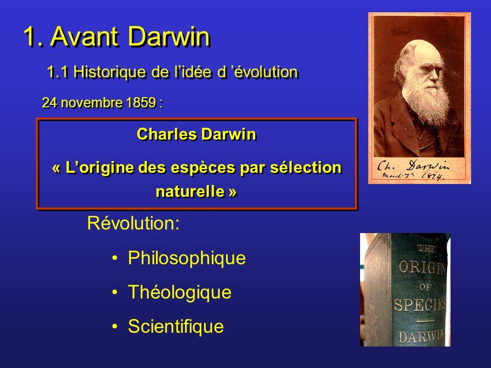 1. Avant Darwin 1.1 Historique de lidée d évolution 1. Avant Darwin 1.1 Historique de lidée d évolution 24 novembre 1859 : Charles Darwin « Lorigine d