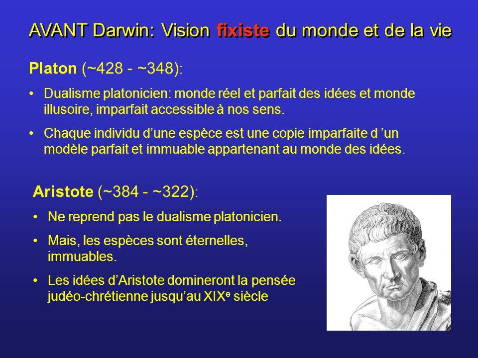 AVANT Darwin: Vision fixiste du monde et de la vie Platon (~428 - ~348) : Dualisme platonicien: monde réel et parfait des idées et monde illusoire, im