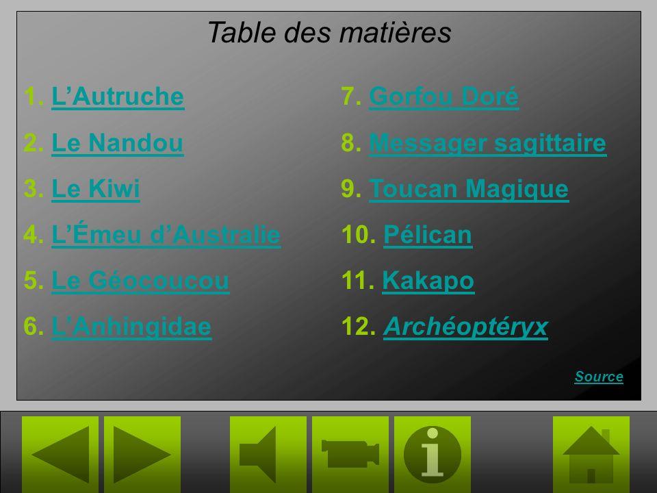 1.LAutrucheLAutruche 2. Le NandouLe Nandou 3. Le KiwiLe Kiwi 4.
