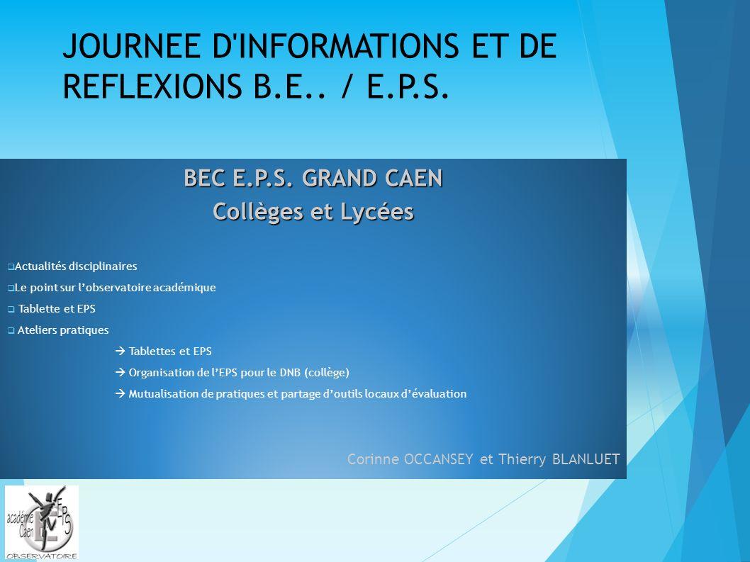 JOURNEE D INFORMATIONS ET DE REFLEXIONS B.E../ E.P.S.