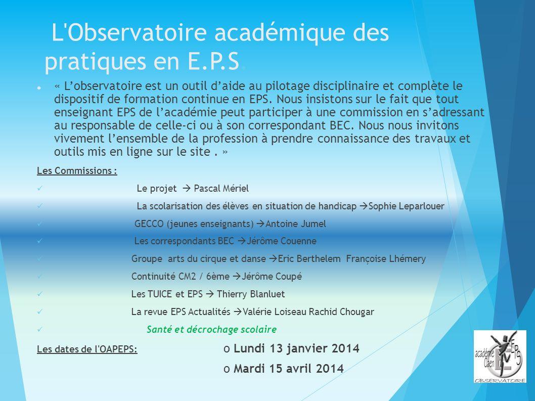 L'Observatoire académique des pratiques en E.P.S. « Lobservatoire est un outil daide au pilotage disciplinaire et complète le dispositif de formation