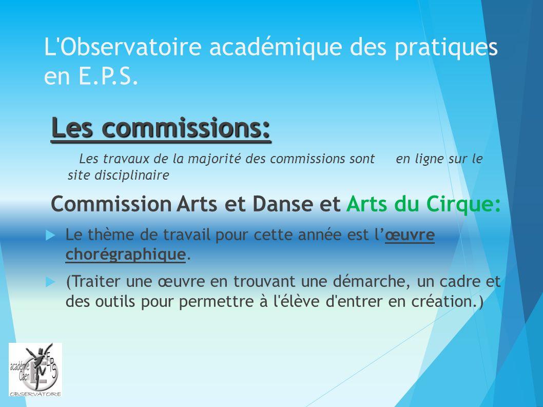 L'Observatoire académique des pratiques en E.P.S. Les commissions: Les travaux de la majorité des commissions sont en ligne sur le site disciplinaire