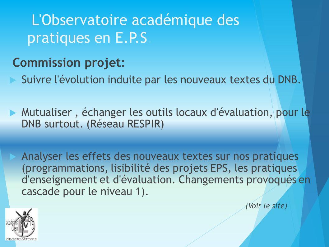 L'Observatoire académique des pratiques en E.P.S. Commission projet: Suivre l'évolution induite par les nouveaux textes du DNB. Mutualiser, échanger l
