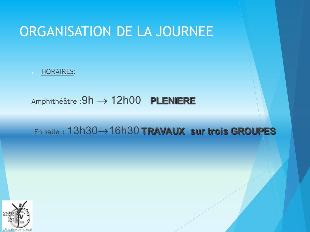 ORGANISATION DE LA JOURNEE HORAIRES: PLENIERE Amphithéâtre : 9h 12h00 PLENIERE TRAVAUX sur trois GROUPES En salle : 13h30 16h30 TRAVAUX sur trois GROUPES